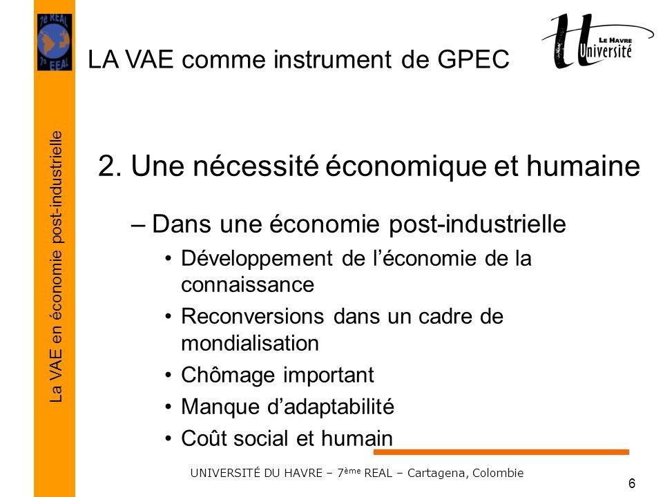 LA VAE comme instrument de GPEC La VAE en économie post-industrielle UNIVERSITÉ DU HAVRE – 7 ème REAL – Cartagena, Colombie 6 2. Une nécessité économi