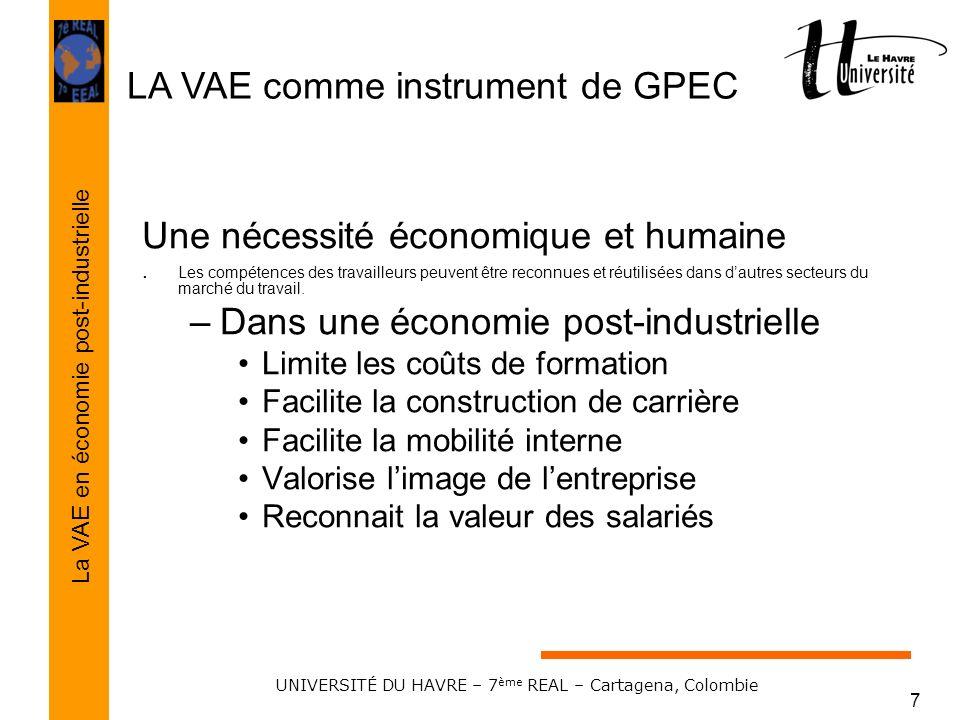 LA VAE comme instrument de GPEC La VAE en économie post-industrielle UNIVERSITÉ DU HAVRE – 7 ème REAL – Cartagena, Colombie 7 Une nécessité économique
