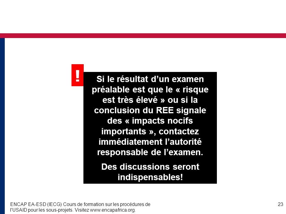 ENCAP EA-ESD (IECG) Cours de formation sur les procédures de l USAID pour les sous-projets.
