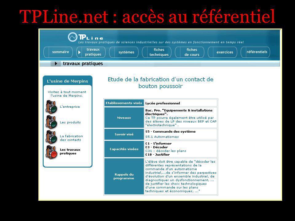 TPLine.net : accès au référentiel