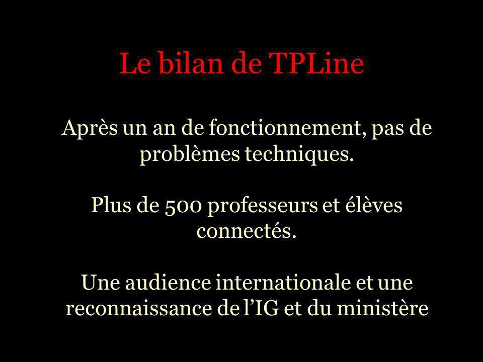 Le bilan de TPLine Après un an de fonctionnement, pas de problèmes techniques. Plus de 500 professeurs et élèves connectés. Une audience international