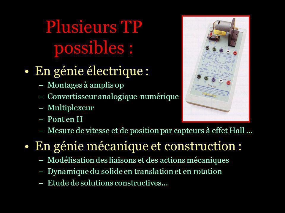 Plusieurs TP possibles : En génie électrique : –Montages à amplis op –Convertisseur analogique-numérique –Multiplexeur –Pont en H –Mesure de vitesse e