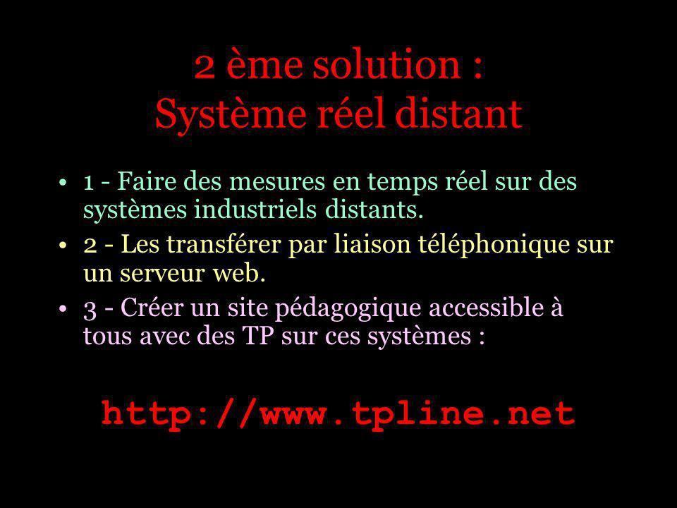 1 - Faire des mesures en temps réel sur des systèmes industriels distants. 2 - Les transférer par liaison téléphonique sur un serveur web. 3 - Créer u