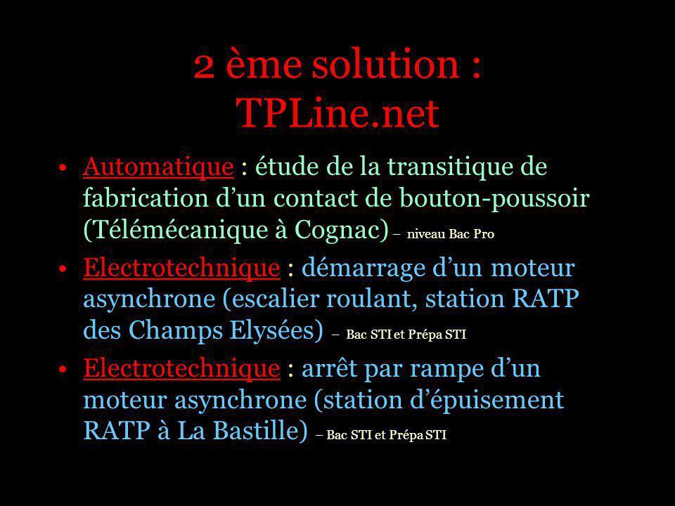 2 ème solution : TPLine.net Electromécanique : bilan de puissance sur une grue de chantier (Potain) – Bac Pro Mécanique : mesure de la rigidité torsionnelle de caisse (Agence dEssai Ferroviaire de la SNCF) – Prépa PSI, PT, STI Mécanique : mesure du coefficient de souplesse quasi-statique (Agence dEssai Ferroviaire de la SNCF) – prépa PSI, PT, STI
