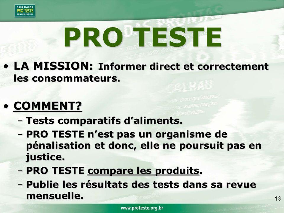 13 PRO TESTE LA MISSION: Informer direct et correctement les consommateurs.LA MISSION: Informer direct et correctement les consommateurs.
