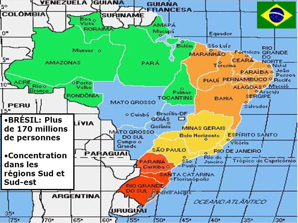 3 BRÉSIL: Plus de 170 millions de personnes Concentration dans les régions Sud et Sud-est