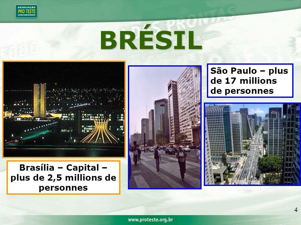 4 BRÉSIL São Paulo – plus de 17 millions de personnes Brasília – Capital – plus de 2,5 millions de personnes