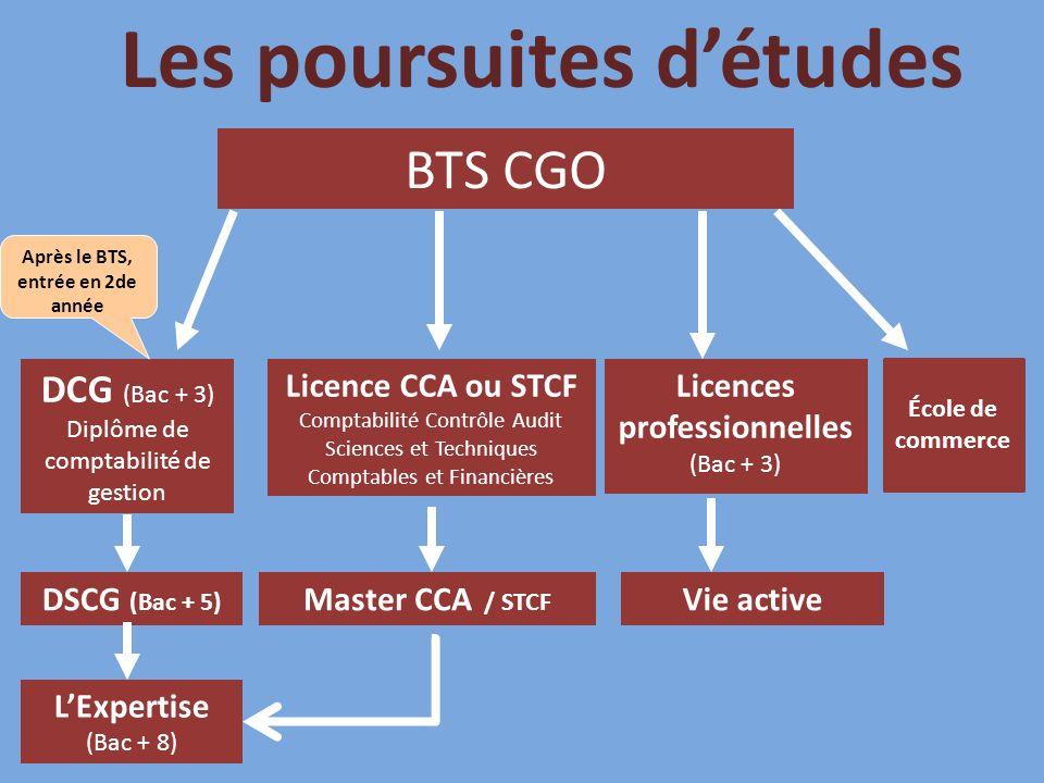 Les poursuites détudes DCG (Bac + 3) Diplôme de comptabilité de gestion BTS CGO LExpertise (Bac + 8) Après le BTS, entrée en 2de année Licences professionnelles (Bac + 3) DSCG (Bac + 5) Licence CCA ou STCF Comptabilité Contrôle Audit Sciences et Techniques Comptables et Financières Master CCA / STCF Vie active École de commerce