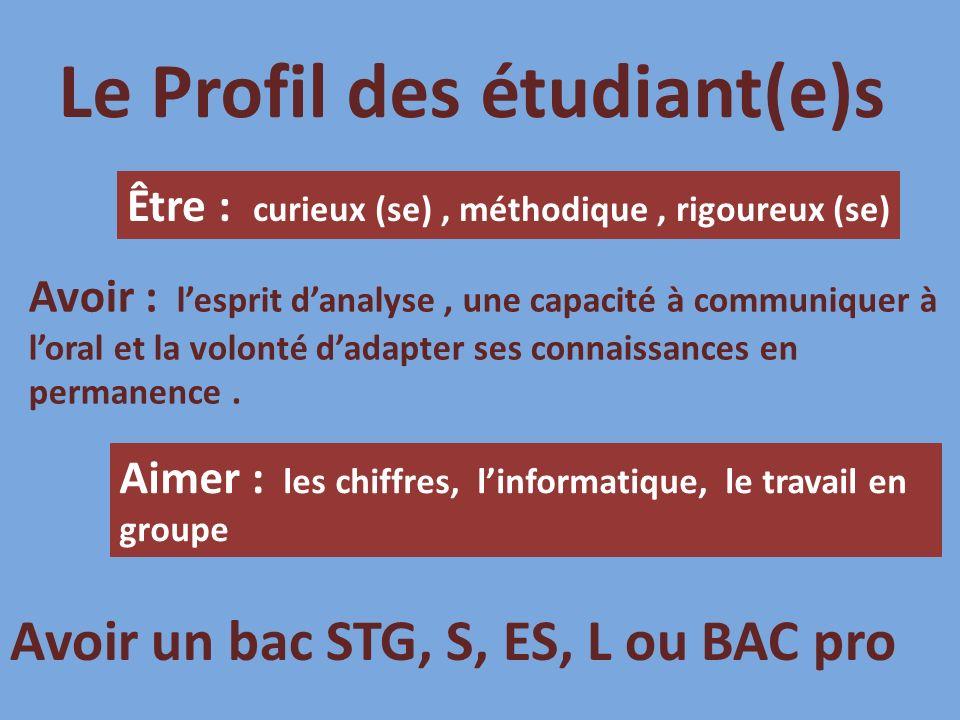 Le Profil des étudiant(e)s Être : curieux (se), méthodique, rigoureux (se) Avoir : lesprit danalyse, une capacité à communiquer à loral et la volonté dadapter ses connaissances en permanence.