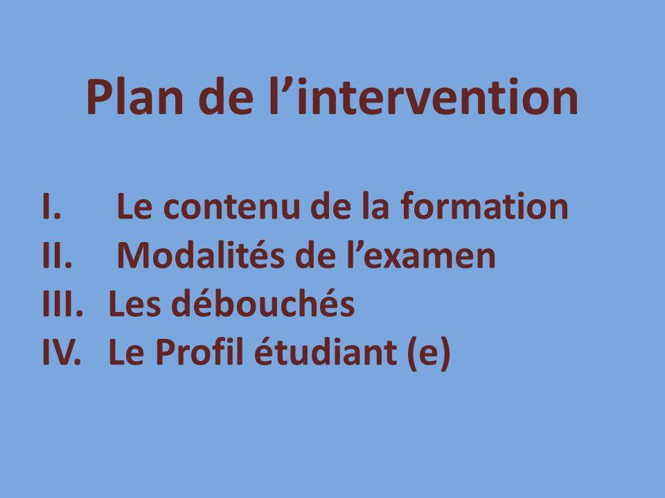 Plan de lintervention I.Le contenu de la formation II.Modalités de lexamen III.