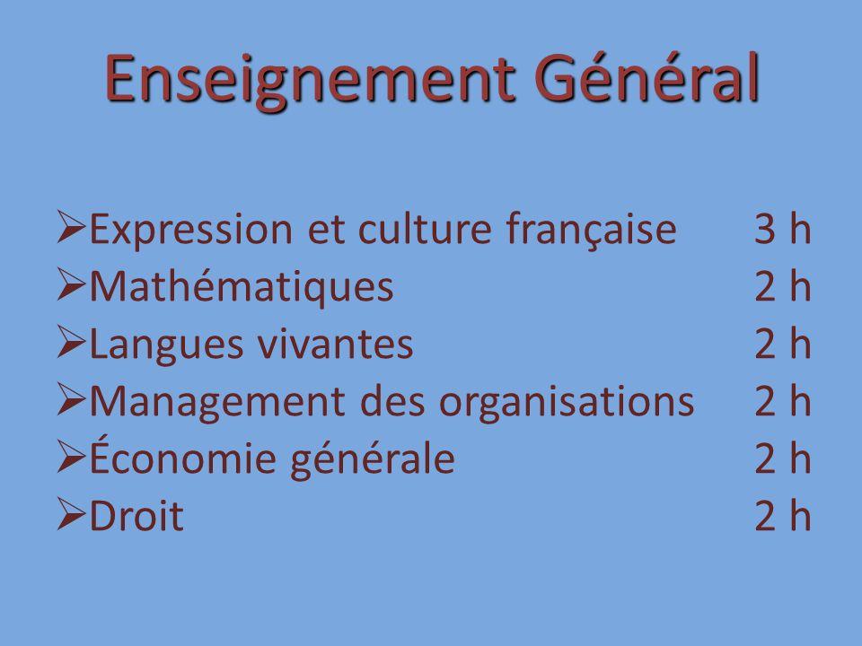 Enseignement Général Expression et culture française 3 h Mathématiques 2 h Langues vivantes 2 h Management des organisations 2 h Économie générale 2 h Droit 2 h