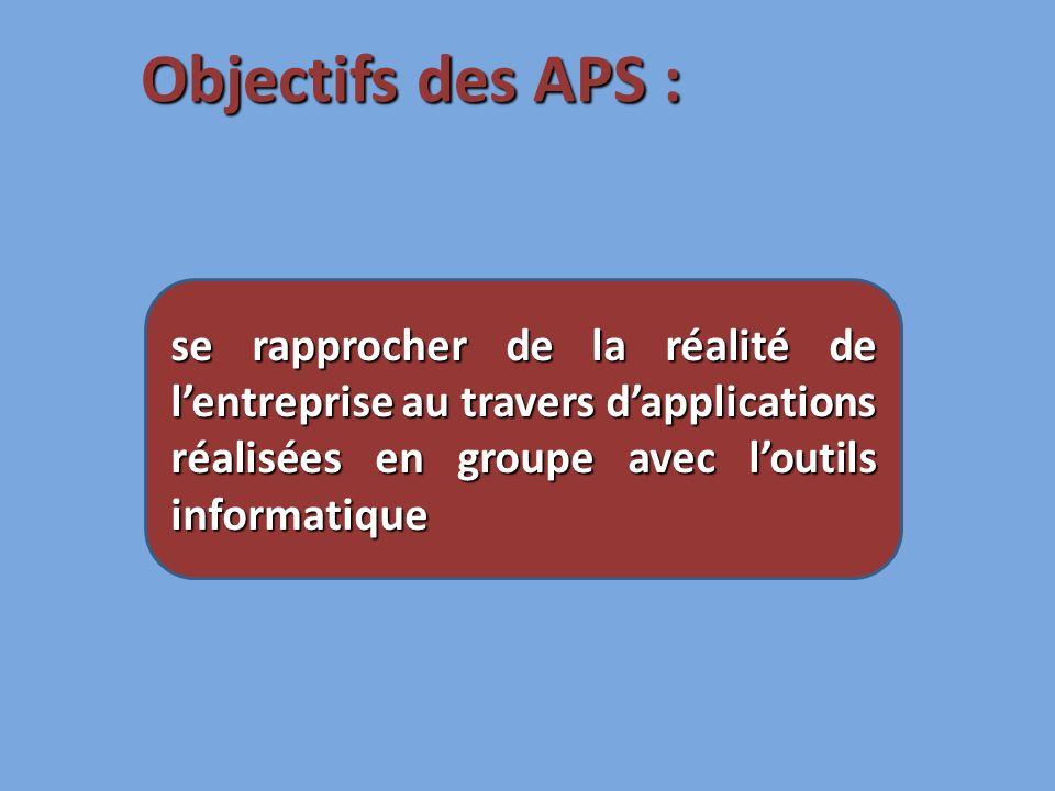 se rapprocher de la réalité de lentreprise au travers dapplications réalisées en groupe avec loutils informatique Objectifs des APS :