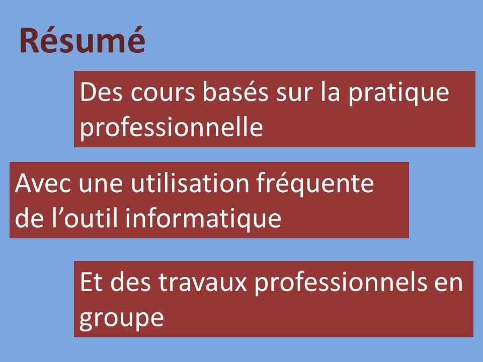 Des cours basés sur la pratique professionnelle Avec une utilisation fréquente de loutil informatique Et des travaux professionnels en groupe Résumé
