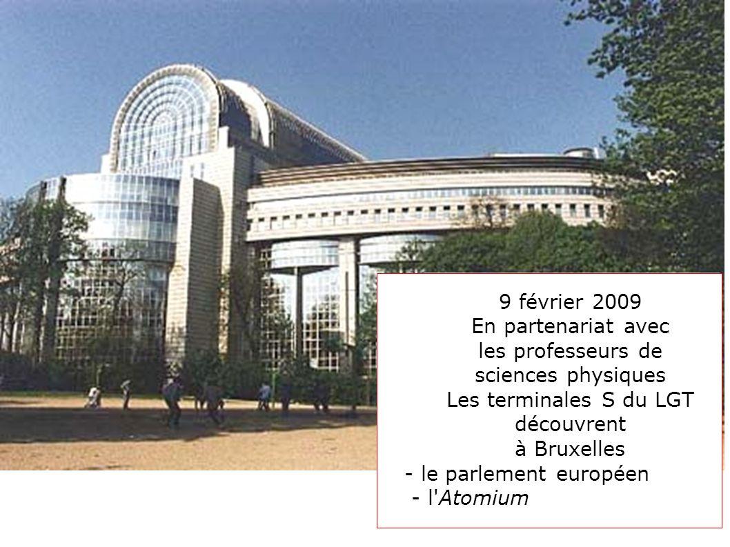9 février 2009 En partenariat avec les professeurs de sciences physiques Les terminales S du LGT découvrent à Bruxelles - le parlement européen - l'At