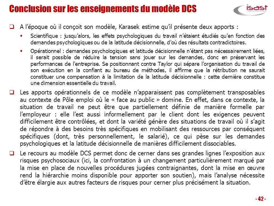 Conclusion sur les enseignements du modèle DCS A lépoque où il conçoit son modèle, Karasek estime quil présente deux apports : Scientifique : jusqualo