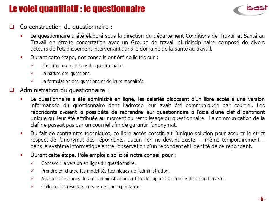 Le volet quantitatif : le questionnaire Co-construction du questionnaire : Le questionnaire a été élaboré sous la direction du département Conditions