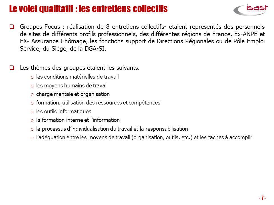 Le volet qualitatif : les entretiens collectifs Groupes Focus : réalisation de 8 entretiens collectifs- étaient représentés des personnels de sites de