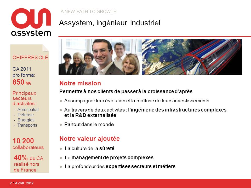 CHIFFRES CLÉ CA 2011 pro forma: 850 M Principaux secteurs dactivités : Aérospatial Défense Energies Transports 10 200 collaborateurs 40% du CA réa