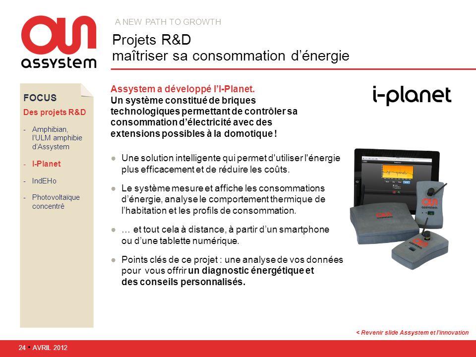 FOCUS Des projets R&D Amphibian, lULM amphibie dAssystem I-Planet IndEHo Photovoltaïque concentré Assystem a développé lI-Planet. Un système const