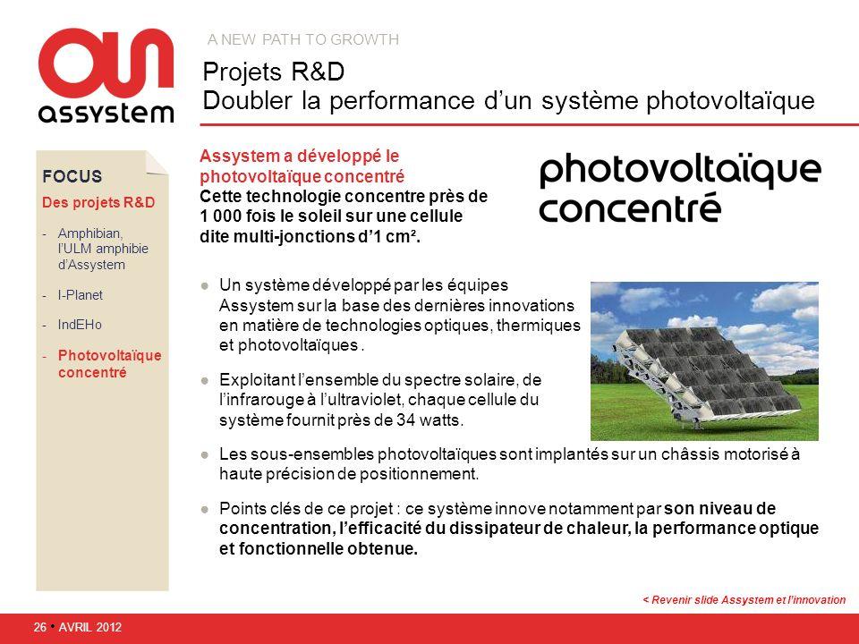 FOCUS Des projets R&D Amphibian, lULM amphibie dAssystem I-Planet IndEHo Photovoltaïque concentré Assystem a développé le photovoltaïque concentré