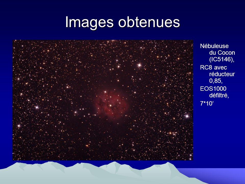 Images obtenues Nébuleuse du Cocon (IC5146), RC8 avec réducteur 0,85, EOS1000 défiltré, 7*10