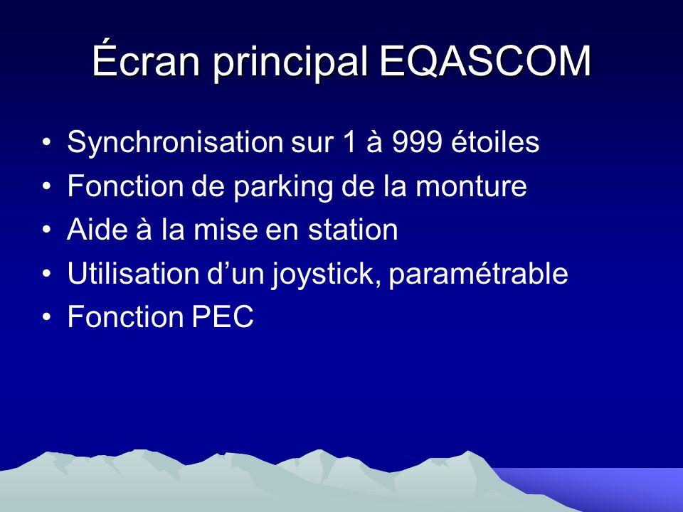Synchronisation sur 1 à 999 étoiles Fonction de parking de la monture Aide à la mise en station Utilisation dun joystick, paramétrable Fonction PEC Éc