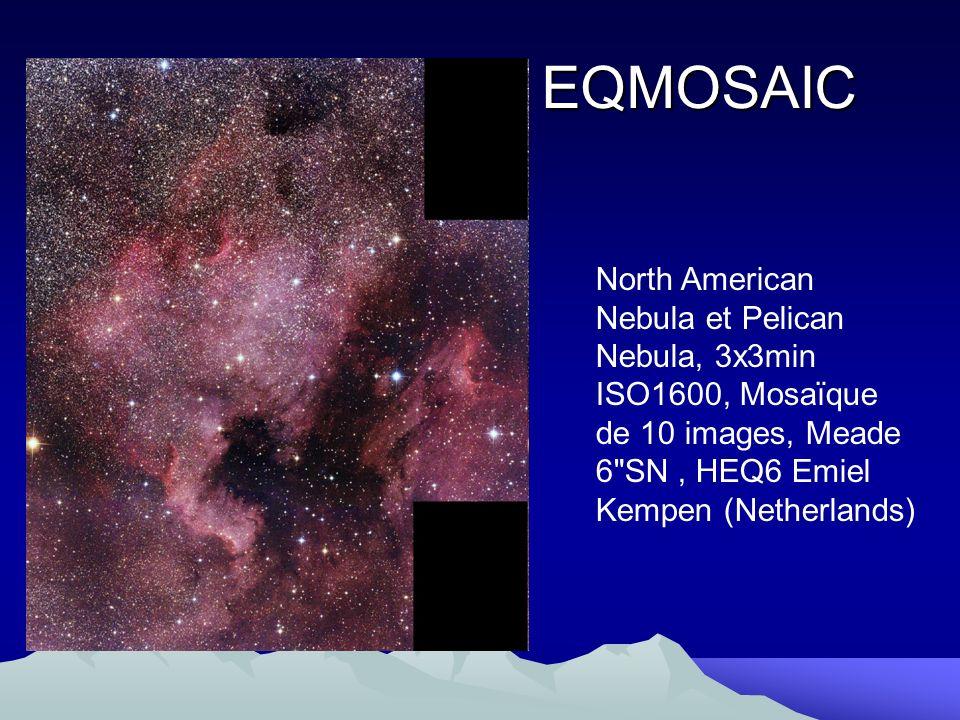 EQMOSAIC North American Nebula et Pelican Nebula, 3x3min ISO1600, Mosaïque de 10 images, Meade 6