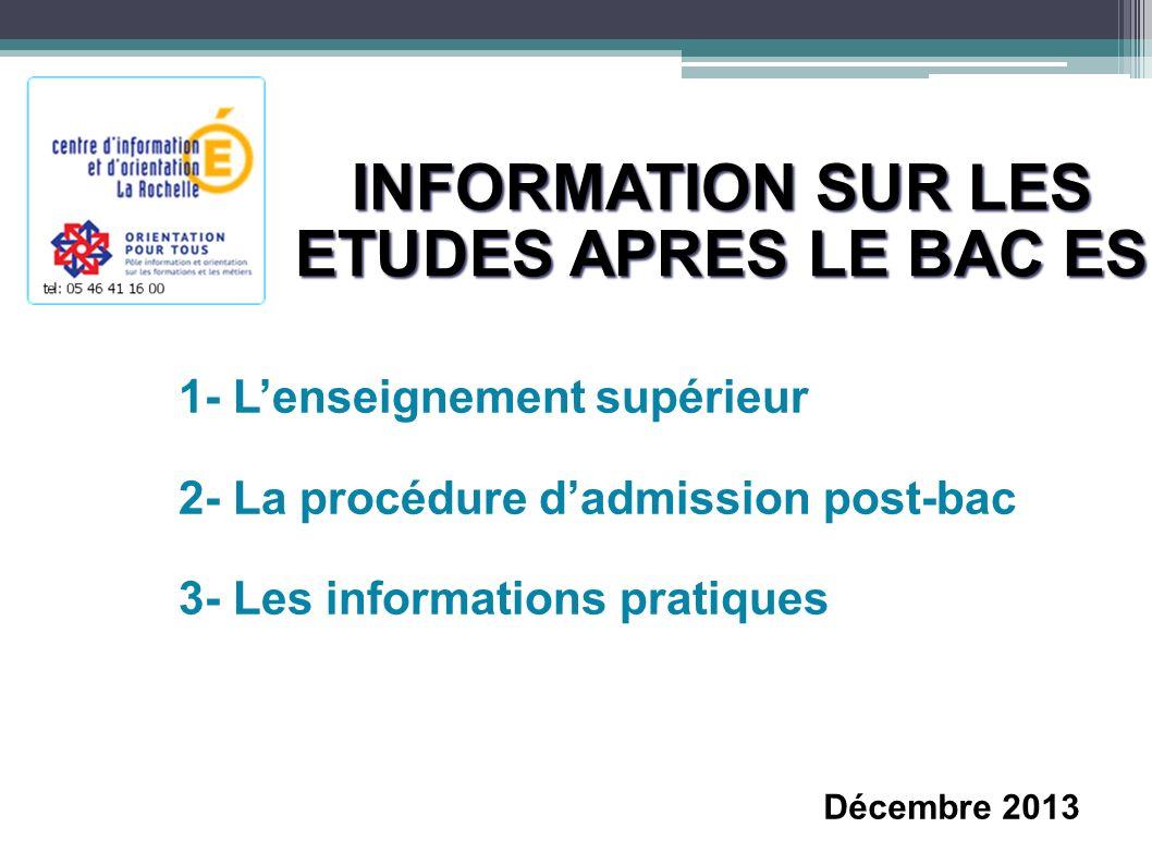 INFORMATION SUR LES ETUDES APRES LE BAC ES 1- Lenseignement supérieur 2- La procédure dadmission post-bac 3- Les informations pratiques Décembre 2013