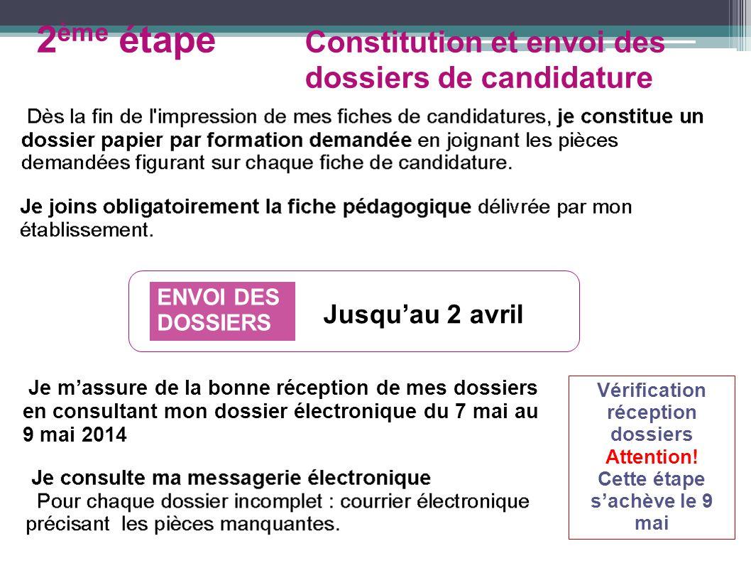 ENVOI DES DOSSIERS Jusquau 2 avril Je massure de la bonne réception de mes dossiers en consultant mon dossier électronique du 7 mai au 9 mai 2014 Véri
