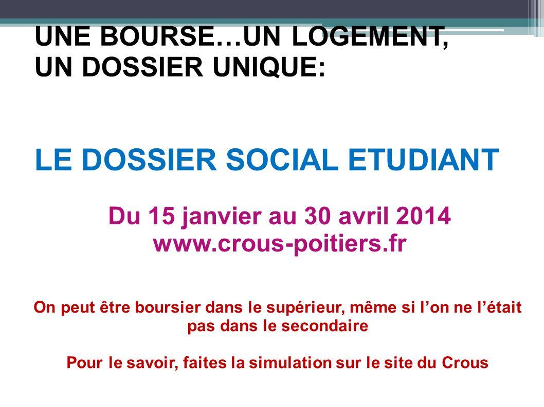 UNE BOURSE…UN LOGEMENT, UN DOSSIER UNIQUE: LE DOSSIER SOCIAL ETUDIANT Du 15 janvier au 30 avril 2014 www.crous-poitiers.fr On peut être boursier dans