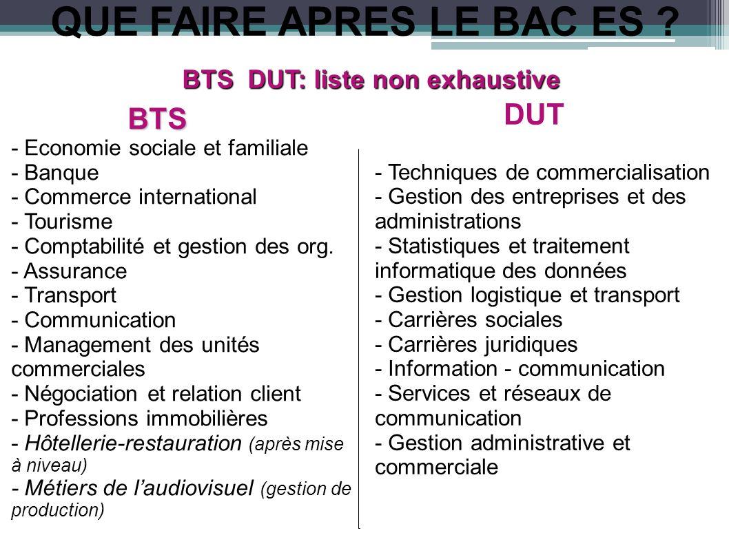 QUE FAIRE APRES LE BAC ES ? BTS DUT: liste non exhaustive BTS BTS - Economie sociale et familiale - Banque - Commerce international - Tourisme - Compt
