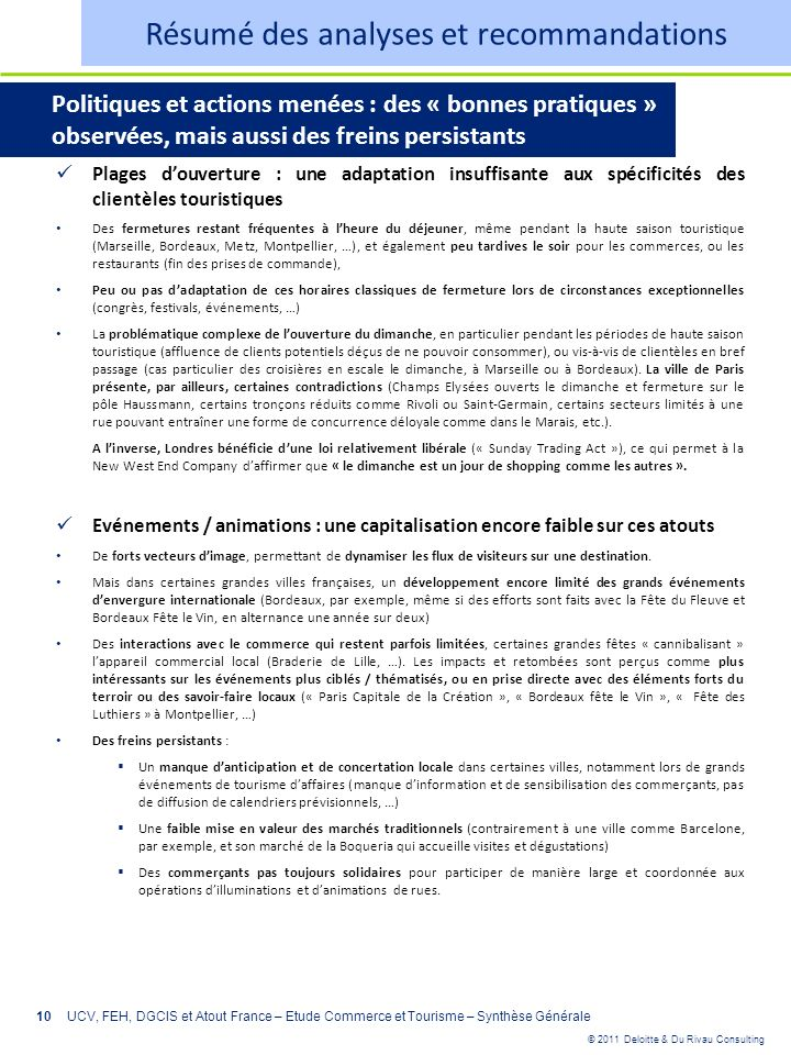 © 2011 Deloitte & Du Rivau Consulting 10 Plages douverture : une adaptation insuffisante aux spécificités des clientèles touristiques Des fermetures r