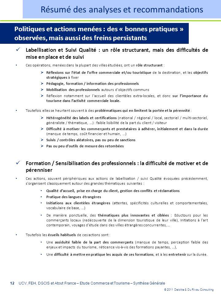 © 2011 Deloitte & Du Rivau Consulting 12 Labellisation et Suivi Qualité : un rôle structurant, mais des difficultés de mise en place et de suivi Ces o