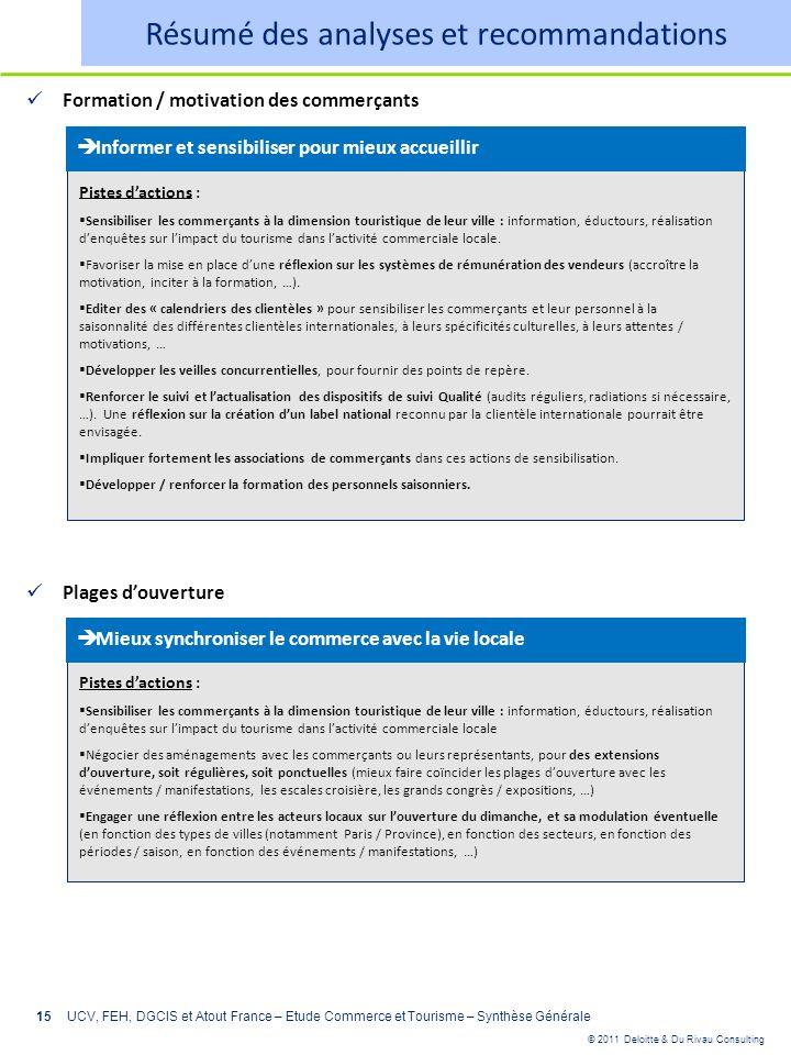 © 2011 Deloitte & Du Rivau Consulting 15UCV, FEH, DGCIS et Atout France – Etude Commerce et Tourisme – Synthèse Générale Formation / motivation des co