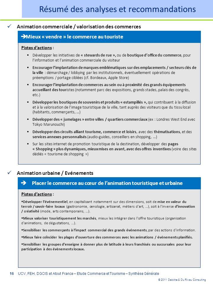 © 2011 Deloitte & Du Rivau Consulting 16 Animation commerciale / valorisation des commerces UCV, FEH, DGCIS et Atout France – Etude Commerce et Touris