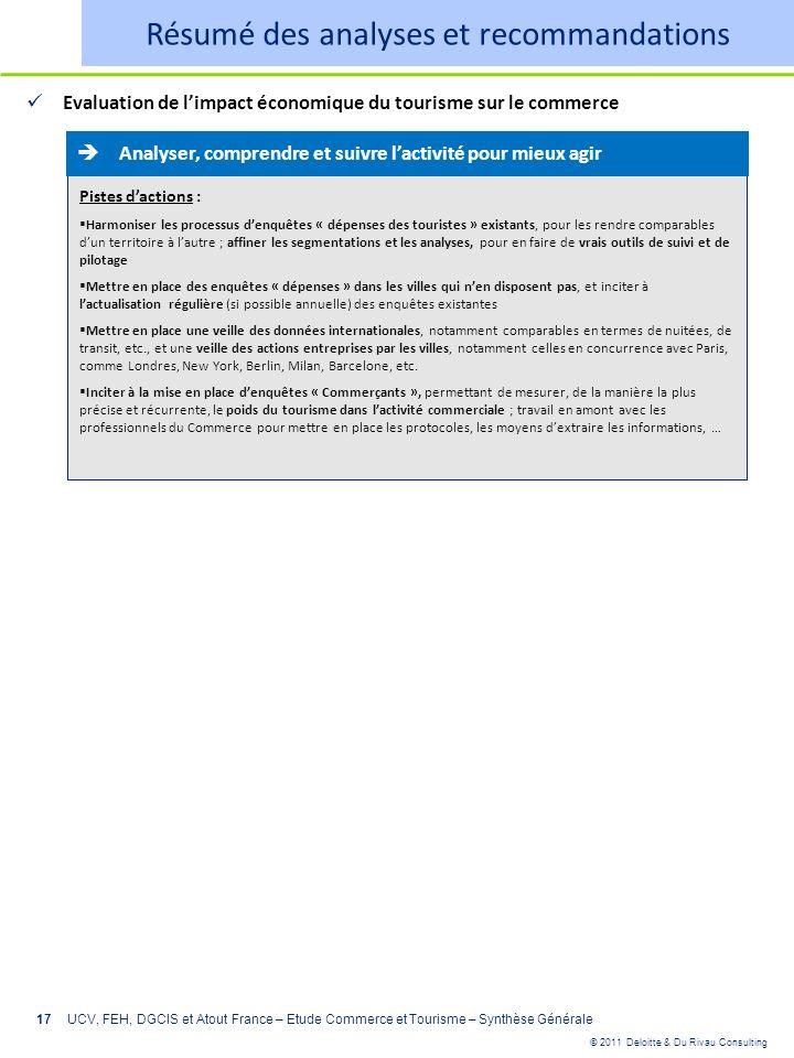© 2011 Deloitte & Du Rivau Consulting 17 Evaluation de limpact économique du tourisme sur le commerce UCV, FEH, DGCIS et Atout France – Etude Commerce