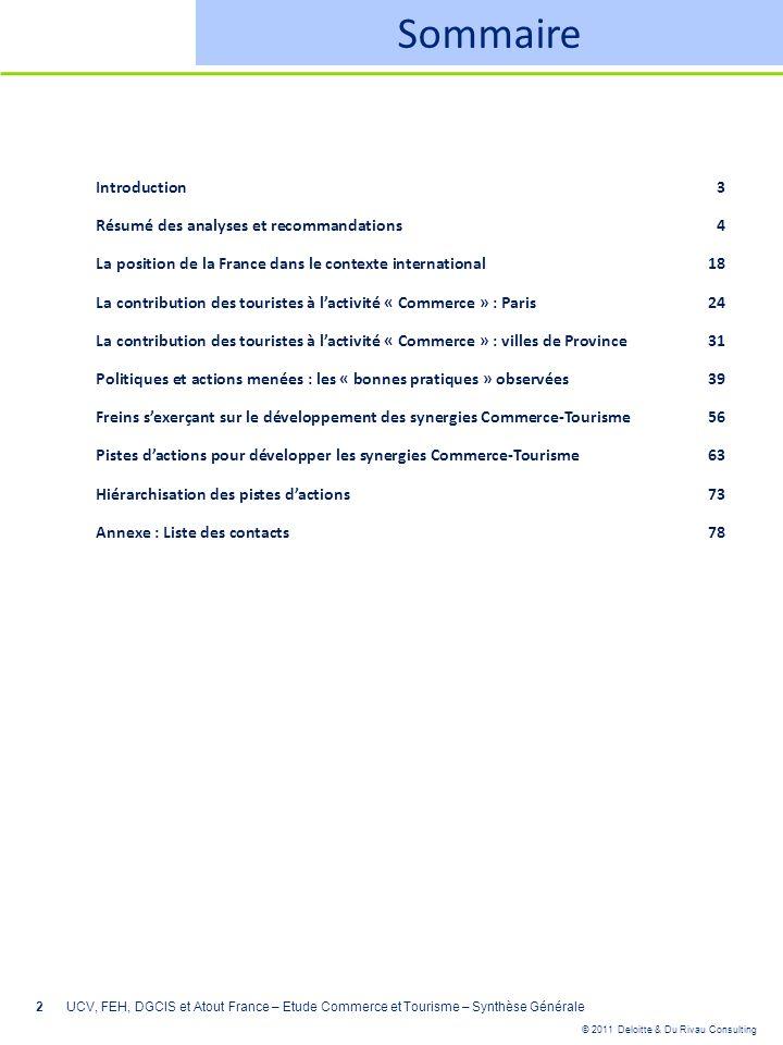 © 2011 Deloitte & Du Rivau Consulting 2 Sommaire Introduction3 Résumé des analyses et recommandations4 La position de la France dans le contexte inter