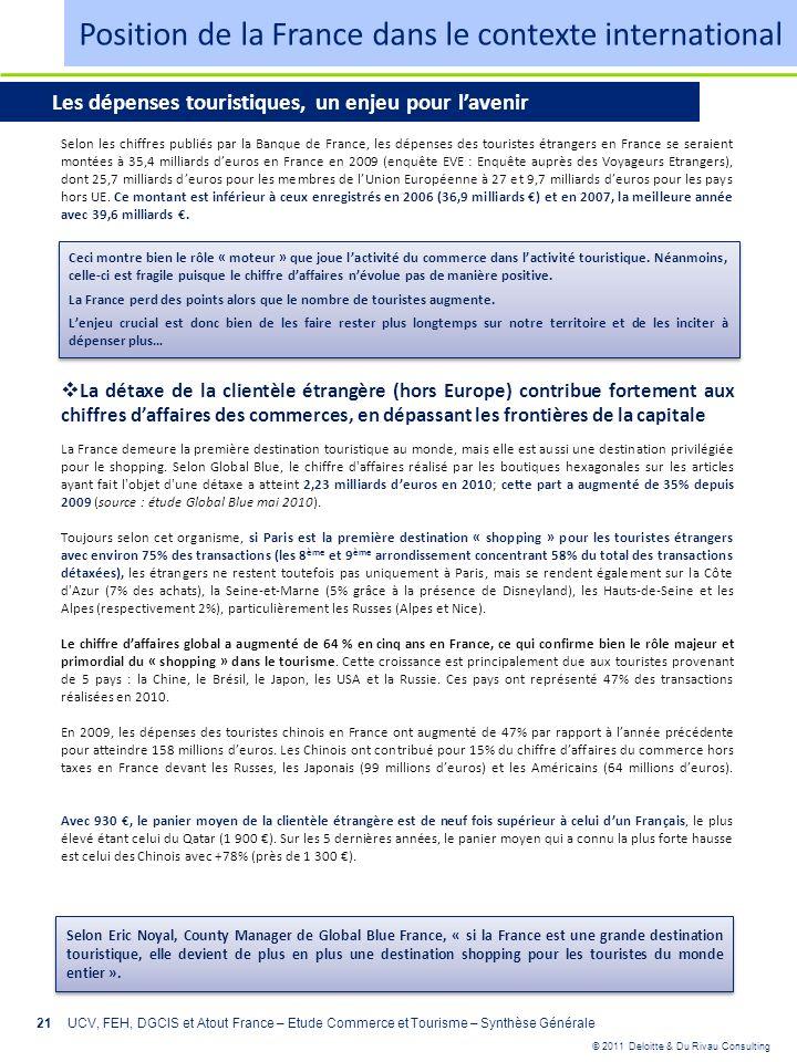 © 2011 Deloitte & Du Rivau Consulting 21UCV, FEH, DGCIS et Atout France – Etude Commerce et Tourisme – Synthèse Générale Selon les chiffres publiés pa