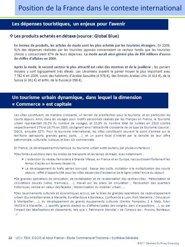 © 2011 Deloitte & Du Rivau Consulting 22UCV, FEH, DGCIS et Atout France – Etude Commerce et Tourisme – Synthèse Générale Les produits achetés en détax