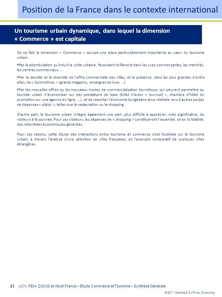 © 2011 Deloitte & Du Rivau Consulting 23UCV, FEH, DGCIS et Atout France – Etude Commerce et Tourisme – Synthèse Générale Un tourisme urbain dynamique,