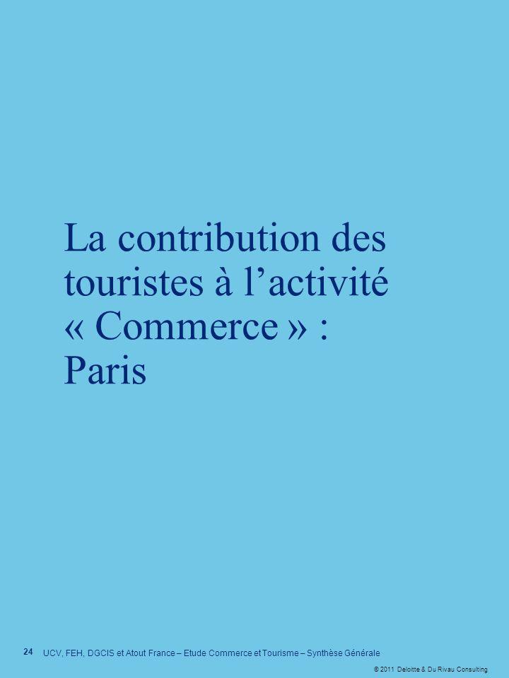 © 2011 Deloitte & Du Rivau Consulting 24 UCV, FEH, DGCIS et Atout France – Etude Commerce et Tourisme – Synthèse Générale La contribution des touriste