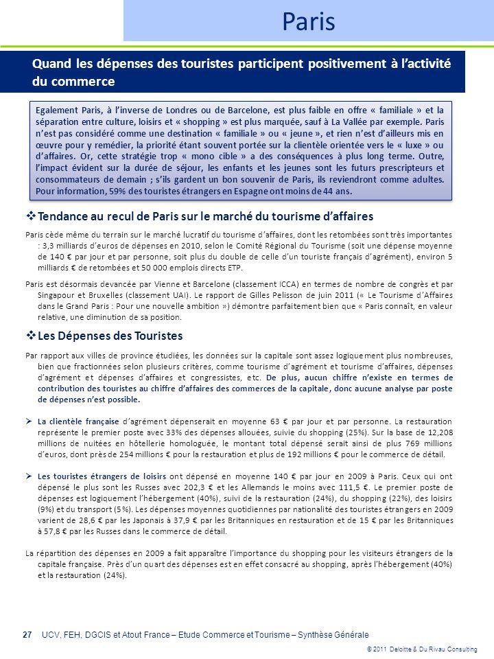 © 2011 Deloitte & Du Rivau Consulting 27UCV, FEH, DGCIS et Atout France – Etude Commerce et Tourisme – Synthèse Générale Paris Quand les dépenses des