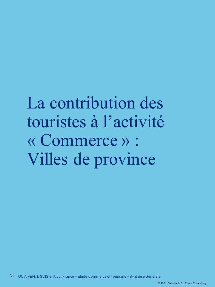 © 2011 Deloitte & Du Rivau Consulting 31 UCV, FEH, DGCIS et Atout France – Etude Commerce et Tourisme – Synthèse Générale La contribution des touriste