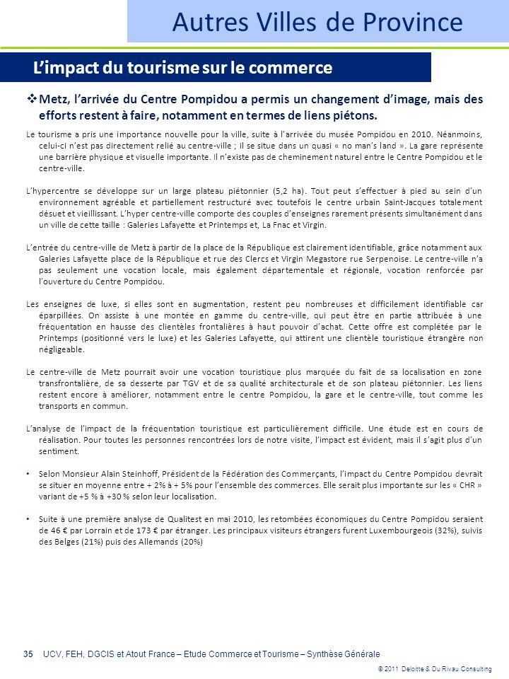 © 2011 Deloitte & Du Rivau Consulting 35UCV, FEH, DGCIS et Atout France – Etude Commerce et Tourisme – Synthèse Générale Autres Villes de Province Lim