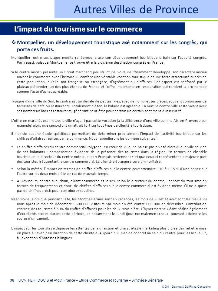 © 2011 Deloitte & Du Rivau Consulting 36UCV, FEH, DGCIS et Atout France – Etude Commerce et Tourisme – Synthèse Générale Autres Villes de Province Lim