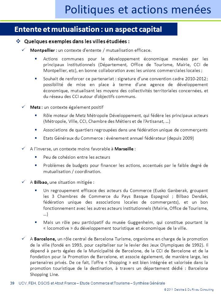 © 2011 Deloitte & Du Rivau Consulting 39 Politiques et actions menées Entente et mutualisation : un aspect capital Quelques exemples dans les villes é