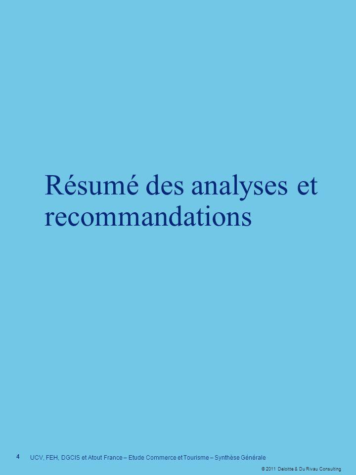 © 2011 Deloitte & Du Rivau Consulting Résumé des analyses et recommandations 4 UCV, FEH, DGCIS et Atout France – Etude Commerce et Tourisme – Synthèse