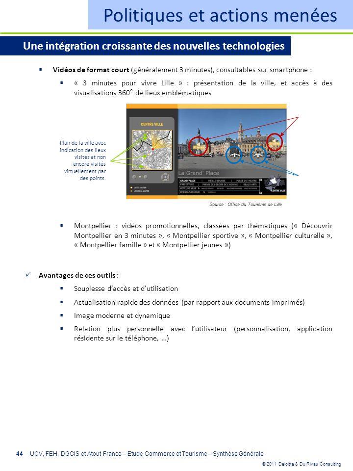 © 2011 Deloitte & Du Rivau Consulting 44 Politiques et actions menées Une intégration croissante des nouvelles technologies Vidéos de format court (gé