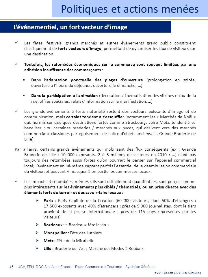 © 2011 Deloitte & Du Rivau Consulting 45 Politiques et actions menées Lévénementiel, un fort vecteur dimage Les fêtes, festivals, grands marchés et au