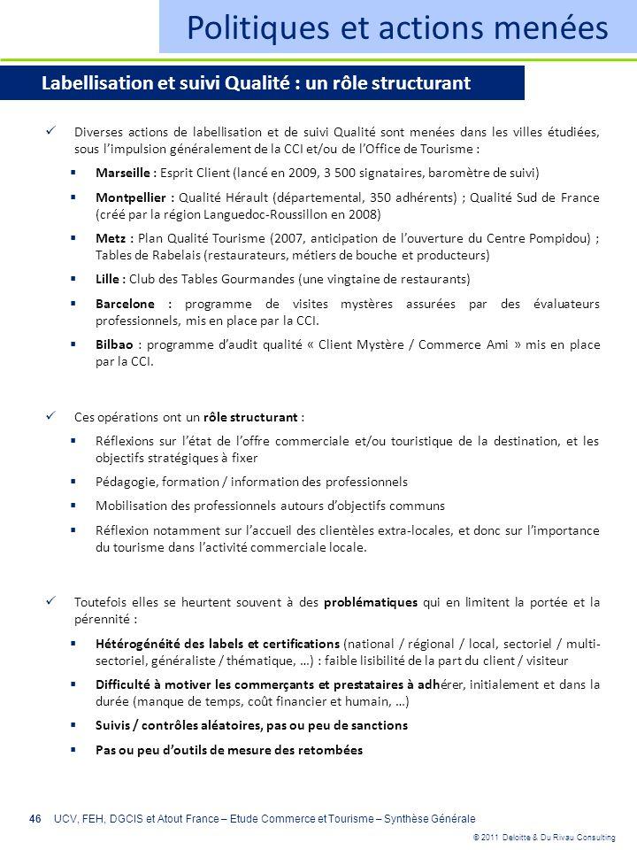 © 2011 Deloitte & Du Rivau Consulting 46 Politiques et actions menées Labellisation et suivi Qualité : un rôle structurant Diverses actions de labelli
